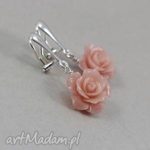 różyczki i srebro - klipsy, róże, różyczki, srebro