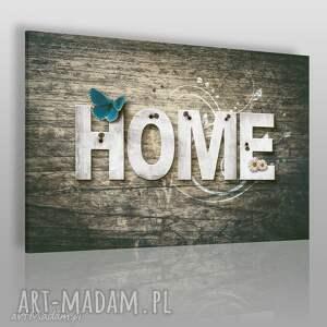 obraz na płótnie - home napis drewno motyl stokrotki 120x80 cm 75001, home