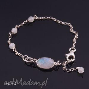 Moonstone, bransoletka - ,kamień,księżycowy,bransoletka,delikatna,srebro,
