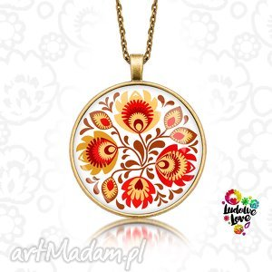 handmade naszyjniki medalion okrągły jesienny folk