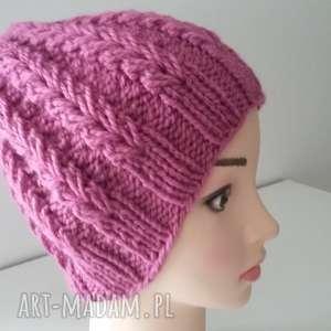 gruba czapka na zimĘ - czapka, wełniane, gruba, druty, zima, czapa