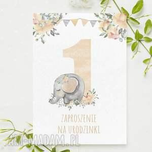 zaproszenie na 1 urodzinki ze słonikiem roczek urodziny - 3 sztuki