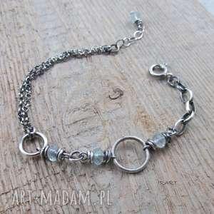 Łańcuszki z akwamarynem , akwamaryn, srebro, bransoletka