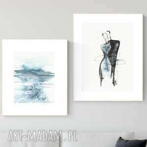 plakaty zestaw 2 obrazów wykonanych ręcznie, abstrakcja, 2664397, obraz ręcznie