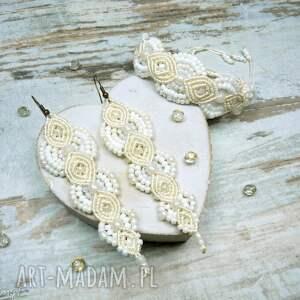 Komplet biżuterii ślubnej z koralików - ecru i biel, ślub, biżuteria-ślubna, makrama,