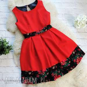 czerwona sukienka z szarfą folk góralska kwiaty, sukienka, góralska