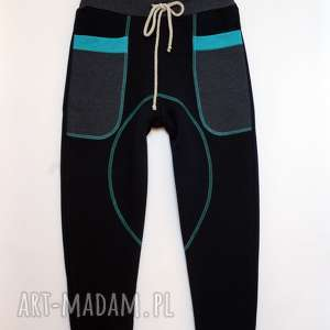 mimi monster patch pants spodnie 74 - 98 cm granat turkus, wygodne, bawełna, do