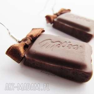 kolczyki - słodkie czekoladki, kolczyki, modelina, masa, fimo