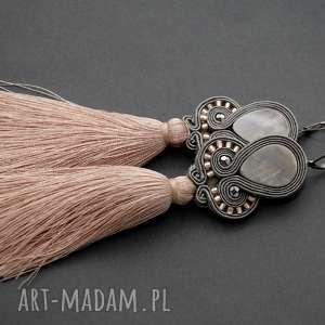 sisu kolczyki sutasz z masą perłową i chwostami, sznurek, eleganckie, wiszące