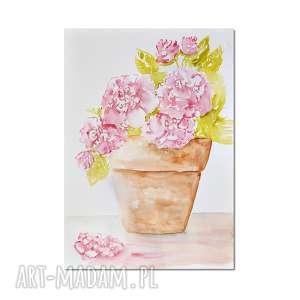 Kwiaty w doniczce, akwarela, obraz, kwiaty