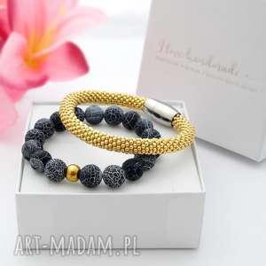 zestaw bransoletek elegance set - agat, piękne bransoletki, modna biżuteria
