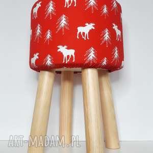 Pufa Czerwony Renifer - 45 cm, puf, taboret, hocker, vintage, stołek, ryczka