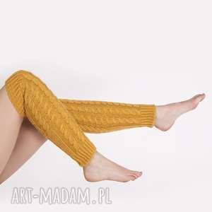 Getry na kostki, get001 żółty mkm swetry musztardowe, getry