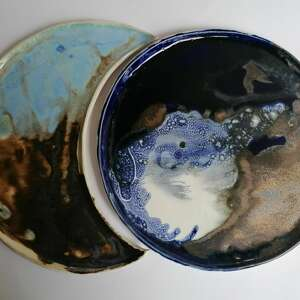 dwa księżyce, ceramika rękodzieło, talerze księżyce, pomysł na prezent