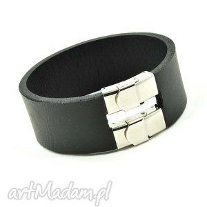 czarna szeroka bransoletka ze skóry naturalnej i stali szlachetnej - bransoletka