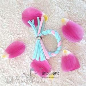 Bransoletka Plecionka - miętowo różowa, bawełna