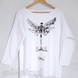 ważki bluzka oversize bawełniana l/xl white, bluzka, koszulka, nadruk, bawełna, ważka