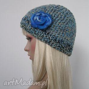 czapka morskie fale - czapka, zima, ciepła, ozdobna, kwiat, morze