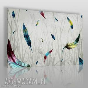 obraz na płótnie - pióra gałęzie 120x80 cm 46701, pióra, gałęzie, kolorowy