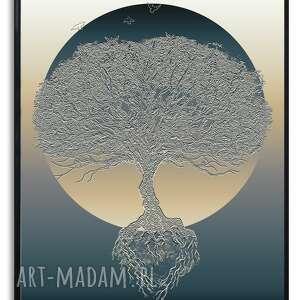 grafika w ramie drzewo porannego blasku 30x40, nowoczesne, fajne