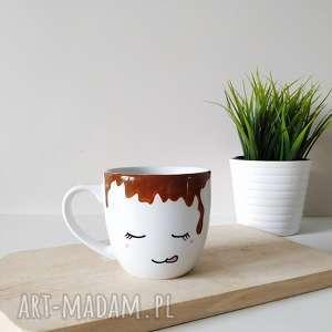 kubek zalany kawą - 450 ml, duży, malowany, ręcznie, zabawny, prezent, kolorowy