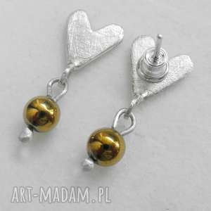 Serduszko kolczyki katarzyna kaminska srebro, kamień, serce