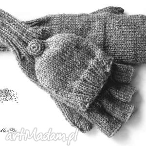 bezpalczatki z klapką #2, rękawiczki, bezpalczatki, mitenki, klapka
