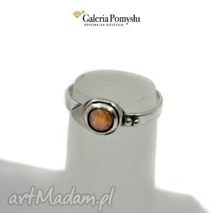 pierścionek z kamieniem słonecznym - kamien, sloneczny, srebro, 925