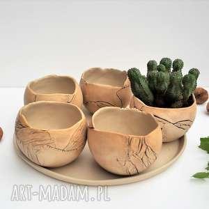 Zestaw 5 doniczek kul na sukulenty ceramika tyka ceramika