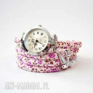 zegarek, bransoletka - jaskółka fioletowe kwiaty owijany, zegarek