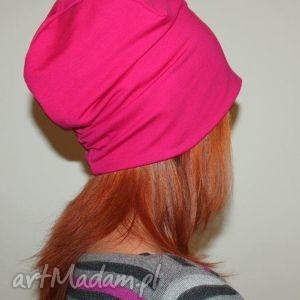 czapka dresowa beanie dwustronna s m l - różowa, dresowa, bawełna, czapka