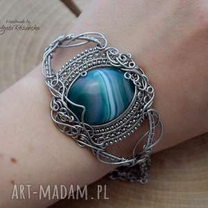 Bransoletka agat zielony, wire wrapping, stal chirurgiczna agata