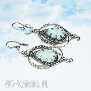 larimar wire wrapping, kolczyki lethias, długie srebrne kolczyki, orientalna