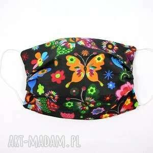 maska bawełniana dwuwarstwowa maseczka ochronna kolorowe motyle