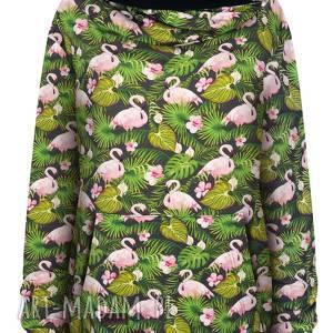 wiosenna obszerna bluza kangurka z mega dużym kapturem w liście i flamingi,