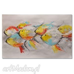 ryby, abstrakcja, nowoczesny obraz ręcznie malowany