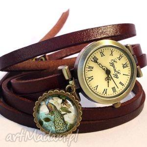 wiktoriański paw - zegarek bransoletka na skórzanym pasku, pióra