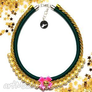 kolia naszyjnik tiffi green - kolia, naszyjnik, elegancki, perły, perełki