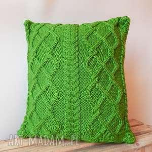 duża poduszka zielone warkocze, poduszka, dziergana, rękodzieło, włóczkowa