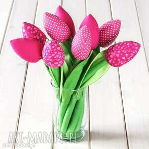 prezent świąteczny TULIPANY różowy bawełniany bukiet, bawełniane, tulipany, kwiaty