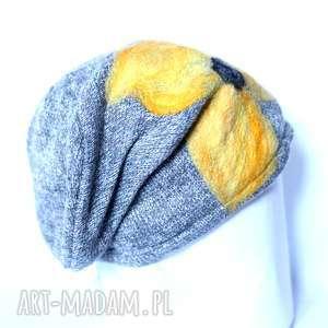 czapka wełniana damska szara - czapka, zima, narty, ciepła, kwiaty, etno