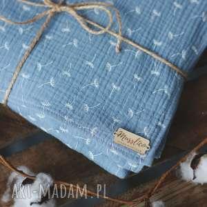 muślinowy otulacz z poduszką - niebieskie dmuchawce, otulacz, kocyk, poduszka