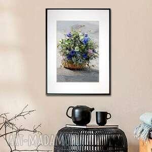 grafika w ramie koszyk z kwiatami 30x40, kwiaty, polne na prezent