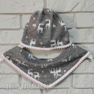 zestaw- czapka chustka - czapka, chustka, jelonki, dziecko, dzianina