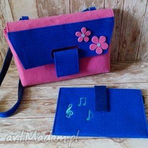 ręcznie zrobione torebki filcowa listonoszka z kwiatkami, gratis etui na tablet