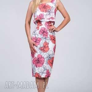 wyjątkowy prezent, sukienki sukienka nella midi rozetka, dopasowana, top, kwiaty