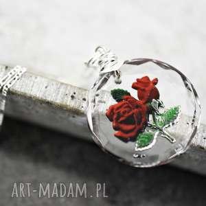 925 szklany wisiorek róże - kwiat, róża, róże, natura, medalion