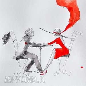 Praca akwarelą i piórkiem DŁOŃ W DŁONI artystki plastyka Adriany Laube, akwarela