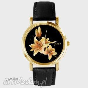 Prezent Zegarek - Żółta lilia czarny, skórzany, złoty, zegarek, bransoletka
