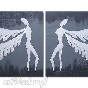 ANIOŁY SZCZĘŚCIA I DOBROBYTU - A19 XXL obraz ręcznie malowany, anioły, anioł, szary